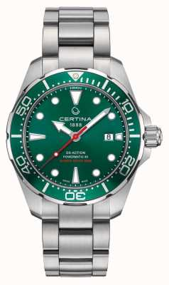 Certina Ds action powermatic esfera verde / bisel reloj de acero inoxidable C0324071109100