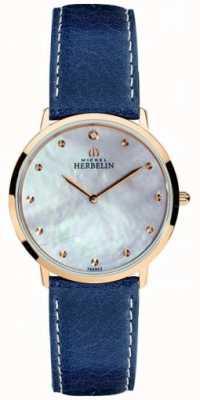 Michel Herbelin Correa de cuero azul mujer ikone esfera 16915/PR59BL