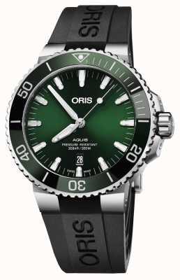 Oris Mens Aquis date date green dial correa de caucho negro 01 733 7730 4157-07 4 24 64EB