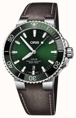Oris Mens Aquis date green dial negro correa marrón 01 733 7730 4157-07 5 24 10EB