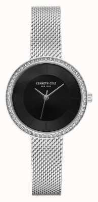Kenneth Cole Diamantes de las mujeres fijaron la malla negra del acero inoxidable del dial KC50198002