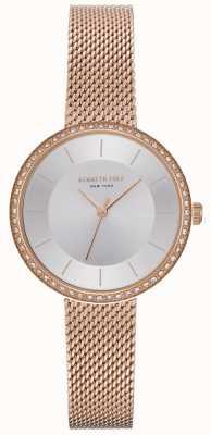 Kenneth Cole Reloj de malla de oro rosa engastado de diamantes para mujer KC50198004