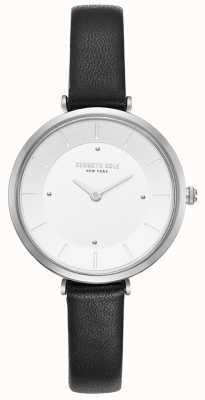 Kenneth Cole Reloj de cuero marrón de caja de acero inoxidable para mujer KC50306003