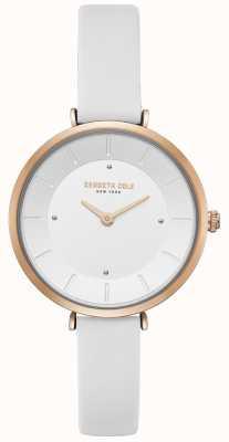 Kenneth Cole Reloj de cuero con caja de oro rosa para mujer KC50306004