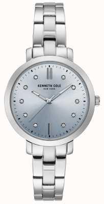 Kenneth Cole Reloj de pulsera y caja de acero inoxidable diamante para mujer KC15173004
