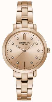 Kenneth Cole Reloj de brazalete de oro rosa con caja de oro rosa para mujer KC15173005