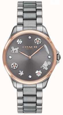 Coach Moderno deporte gris esfera de acero inoxidable de acero gunmetal 14503064