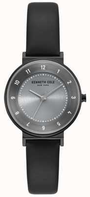 Kenneth Cole Reloj clásico para mujer de correa de cuero negro dial gris KC50075001