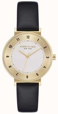 Kenneth Cole Reloj de correa de cuero plateado clásico para mujer KC50075002