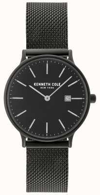Kenneth Cole Estuche negro para mujer y esfera con pantalla de fecha y malla negra KC15057004