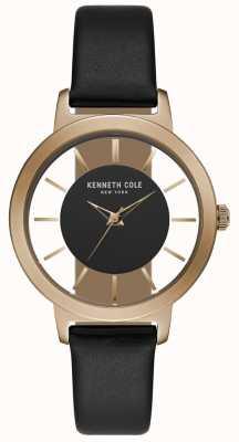 Kenneth Cole Estuche para mujer en oro rosa con correa de piel negra KC15172004