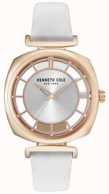 Kenneth Cole Estuche de oro para mujeres en una correa de cuero blanco KC15108003