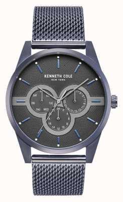 Kenneth Cole Caja de acero inoxidable para hombre con brazalete de malla de acero inoxidable KC15205003