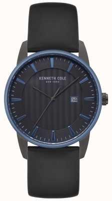 Kenneth Cole Reloj para hombre con esfera negra, reloj de cuero negro KC15204004