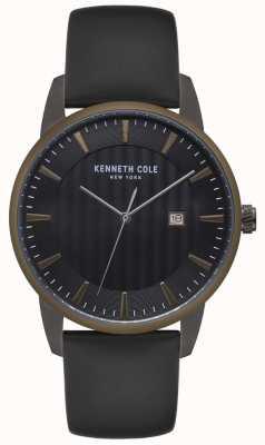 Kenneth Cole Reloj de cuero negro bisel azul para hombre en acero inoxidable KC15204005