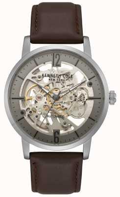 Kenneth Cole Reloj esqueleto para hombre con correa de cuero marrón KC50054001