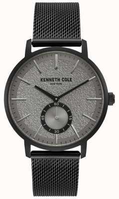 Kenneth Cole Reloj subdial gris negro para hombre con pulsera de malla negra KC50055001