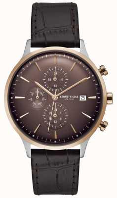 Kenneth Cole Reloj cronógrafo rojo para hombre con correa de piel de cocodrilo marrón KC15181005