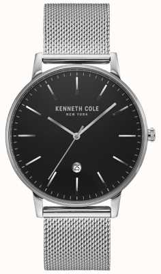 Kenneth Cole Reloj clásico de malla de acero inoxidable plateado negro KC50009004