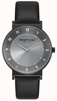 Kenneth Cole Estuche de bronce para mujer con correa de cuero negro KC50074001