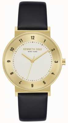 Kenneth Cole Reloj de cuero negro con estuche dorado KC50074002