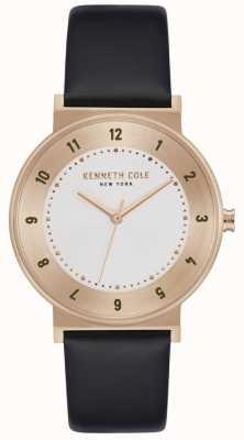 Kenneth Cole Correa de piel negra clásica en oro rosa KC50074003