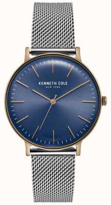 Kenneth Cole Reloj de malla de acero inoxidable azul oscuro KC15183003