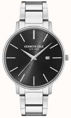 Kenneth Cole Reloj de esfera negra de acero inoxidable con pantalla de fecha KC15059002