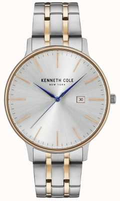 Kenneth Cole Reloj de acero inoxidable plateado y rosa dorado KC15095003