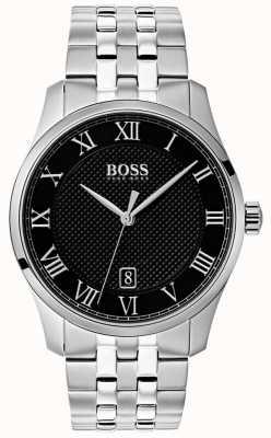 Hugo Boss Reloj maestro de hombre de acero inoxidable con esfera negra 1513588
