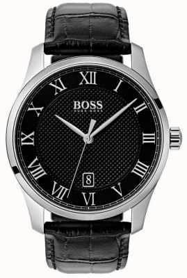 Hugo Boss Reloj de cuero negro para hombre maestro esfera negra 1513585