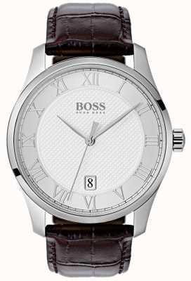 Hugo Boss Reloj de cuero marrón para hombre con esfera plateada 1513586