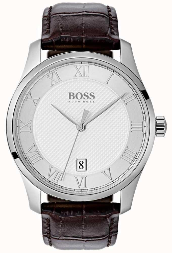 5181f70af7d7 Hugo Boss Reloj De Cuero Marrón Para Hombre Con Esfera Plateada ...