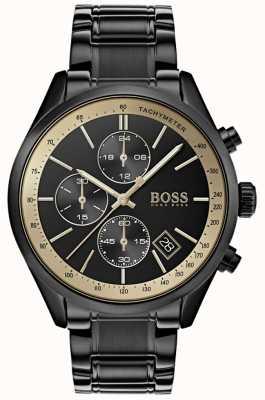 Hugo Boss Reloj de acento negro / oro para hombre de gran prix 1513578