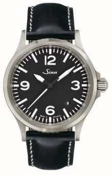 Sinn 556 una correa de cuero de zafiro deportivo 556.014 BLACK LEATHER WHITE STICH