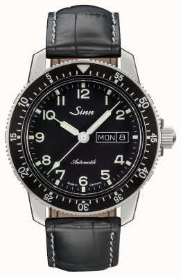 Sinn 104 st sa un reloj piloto clásico correa de cuero negro 104.011 BLACK ALLIGATOR EFFECT WHITE STITCH