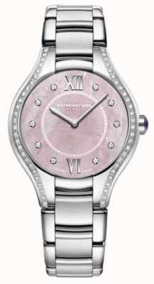 Raymond Weil Para mujer noemia diamante brazalete de acero inoxidable rosa 5132-STS-00986