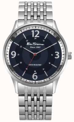 Ben Sherman Reloj de pulsera de acero inoxidable con marcación azul para hombre BS001USM