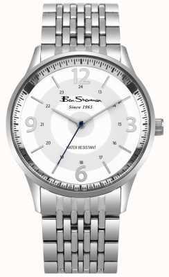 Ben Sherman Reloj de pulsera de acero inoxidable con marcación blanca para hombre BS001SM