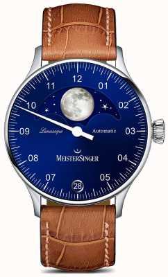 MeisterSinger Pangea lunascope correa marrón esfera azul LS908
