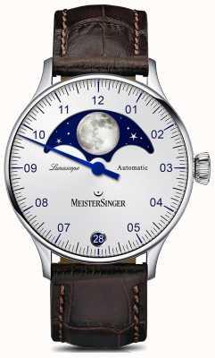MeisterSinger Pangea lunascope esfera plateada correa de cuero marrón LS901