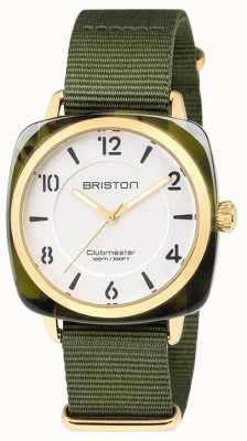 Briston Clubmaster chic correa verde esfera blanca 18536.PYA.TG.2.NGA