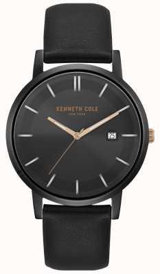 Kenneth Cole Reloj para hombre y dial de marcado con correa de cuero negro KC15202004