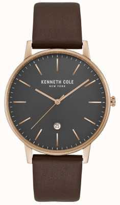 Kenneth Cole Caja de oro rosa para hombre con esfera gris cuero marrón KC50009002