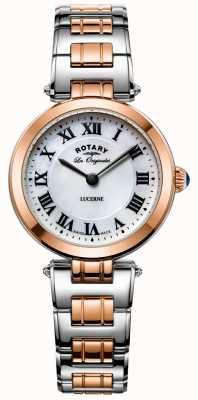 Rotary Reloj para mujer con dos tonos de alfalfa esfera blanca LB90187/41