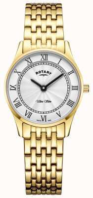 Rotary Pulsera para mujer de tono dorado ultra delgado con esfera blanca LB08303/01