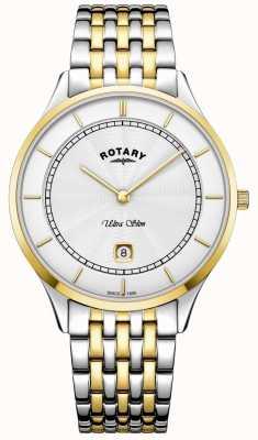 Rotary Reloj de acero inoxidable ultra delgado para hombre con caja dorada blanca para hombre GB08301/02