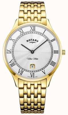 Rotary Reloj de acero inoxidable de tono dorado ultra delgado para hombre de esfera blanca GB08303/01