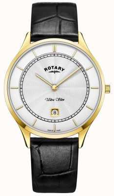 Rotary Reloj de pulsera de cuero negro ultra delgado para hombre GS08303/02