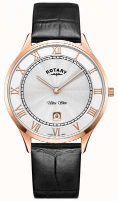 Rotary Reloj de pulsera de cuero negro ultra delgado para hombre GS08304/01